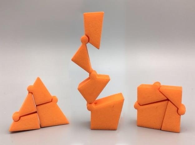 Hinged Triangle-Square in Orange Processed Versatile Plastic