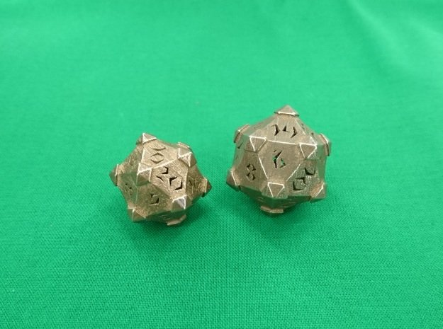 Prism D20 Closed in Polished Bronze Steel: Large