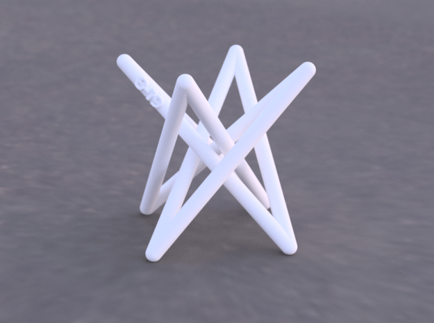 Hyperboloid Stick Knot in White Natural Versatile Plastic