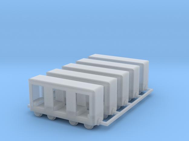 Grubenbahn Perseonenwagen V1 - 5erSet - TTf 1:120 in Smooth Fine Detail Plastic