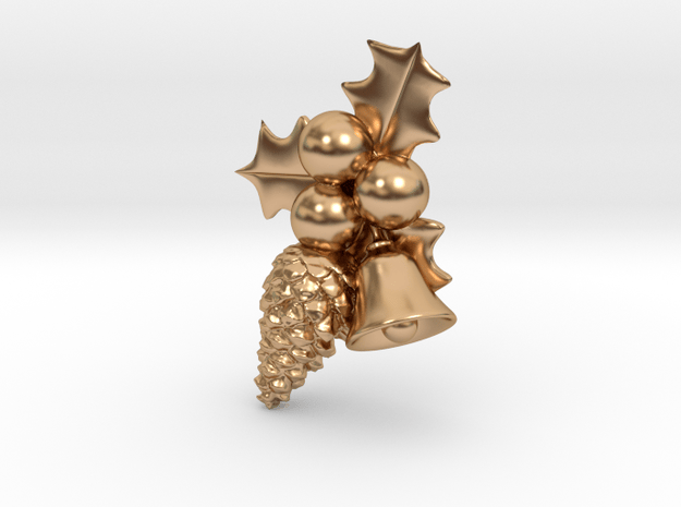 Hollyberry, Pine Cone and Bell Christmas Pendant in Polished Bronze