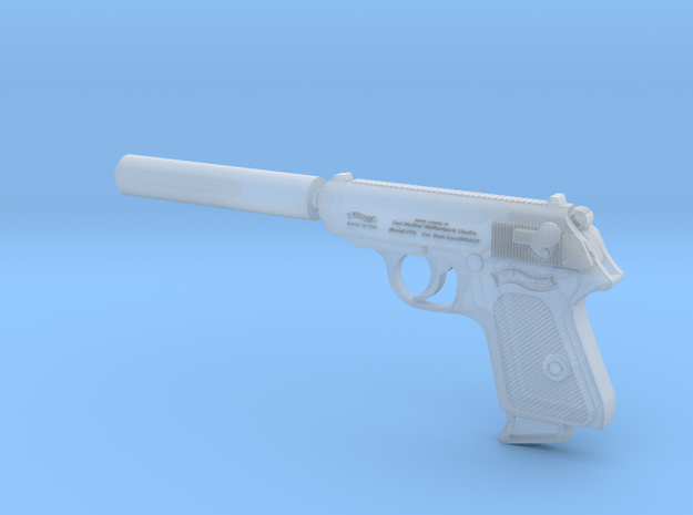 Silenced Walther PPK 1:6 scale in Smooth Fine Detail Plastic