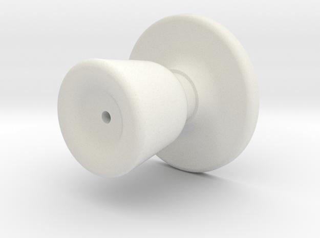 Door knob in 1:6 scale in White Natural Versatile Plastic