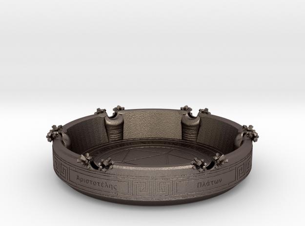 Greek philosopher ashtray in Polished Bronzed-Silver Steel