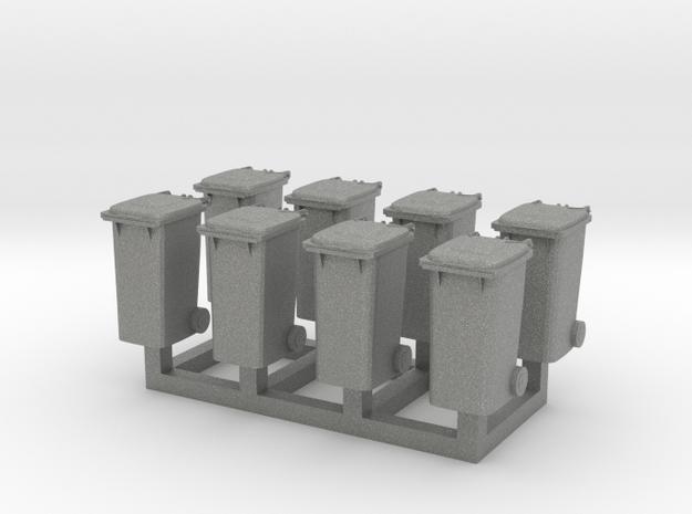 Trash bin set C ( 8 pcs ) 1:100 scale  in Gray PA12
