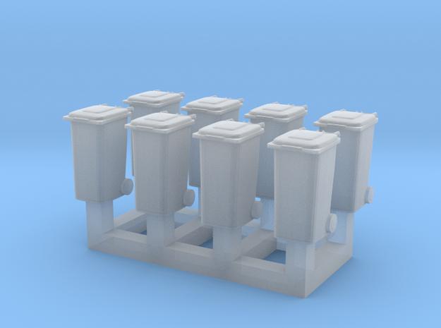 Trash bin set C ( 8 pcs ) 1:150 scale  in Smoothest Fine Detail Plastic