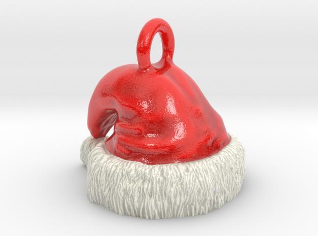 Full Color Santa Hat Pendant / Ornament in Glossy Full Color Sandstone