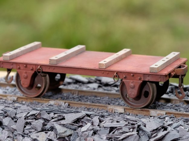 FRB04 - FR Long Slab Wagon (No Couplings) SM32 in White Processed Versatile Plastic