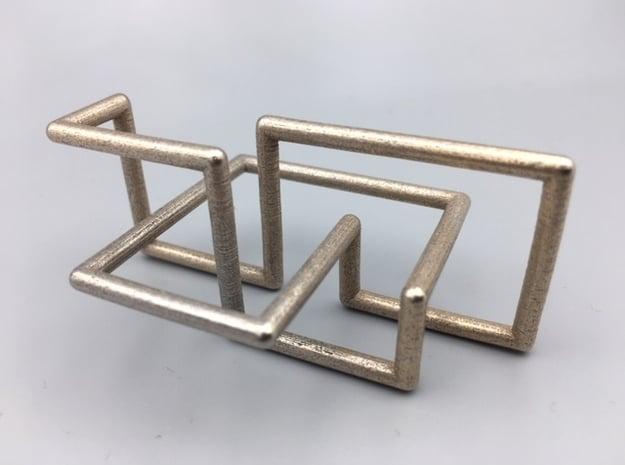 Steel Cinqefoil Lattice Knot in Polished Bronzed-Silver Steel