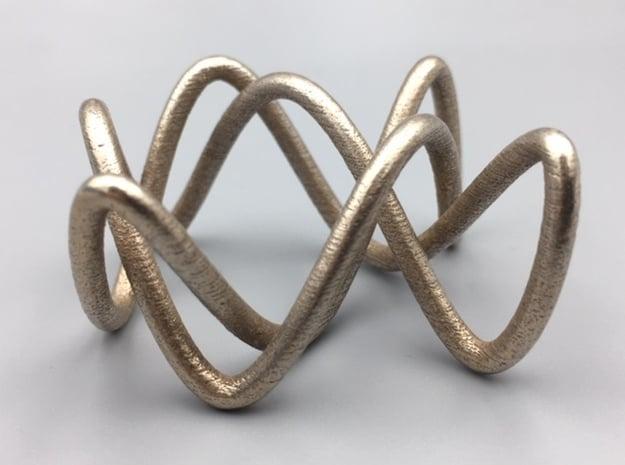 Steel Lissajous Three-Twist Knot in Polished Bronzed-Silver Steel