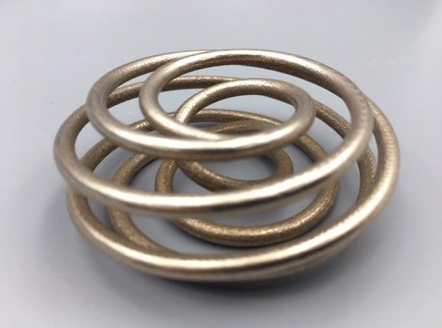 Steel Torus Knot (7,2) in Polished Bronzed-Silver Steel