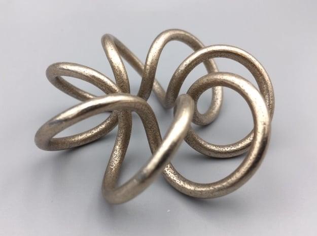 Steel Torus Knot (2,7) in Polished Bronzed-Silver Steel