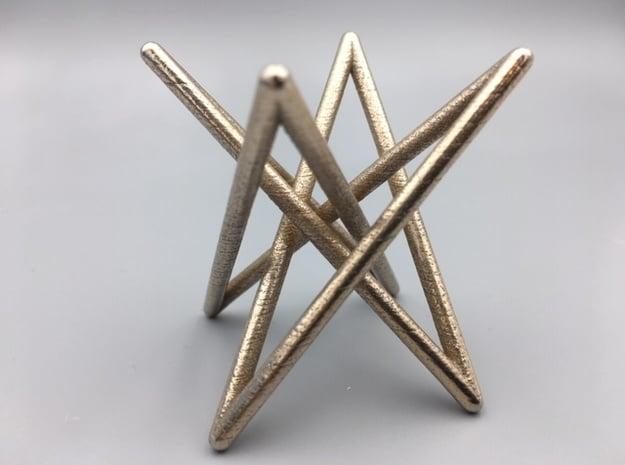 Steel Hyperboloid Stick Knot in Polished Bronzed-Silver Steel
