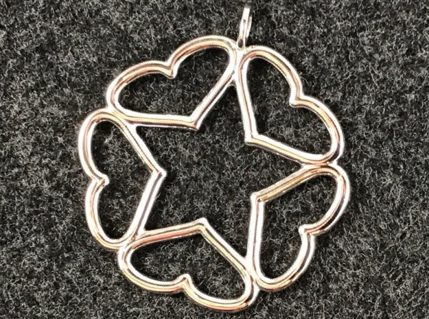 Hearts Hidden Curved Pentacle Pendant in Rhodium Plated Brass