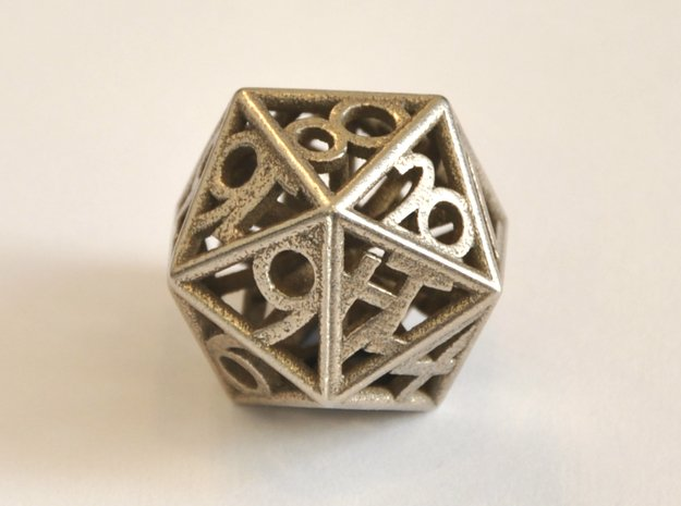 D20 Balanced - Numbers Only (Small) in Polished Bronzed-Silver Steel