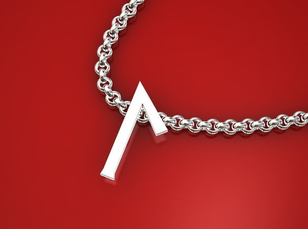 Laguz rune small in Polished Silver
