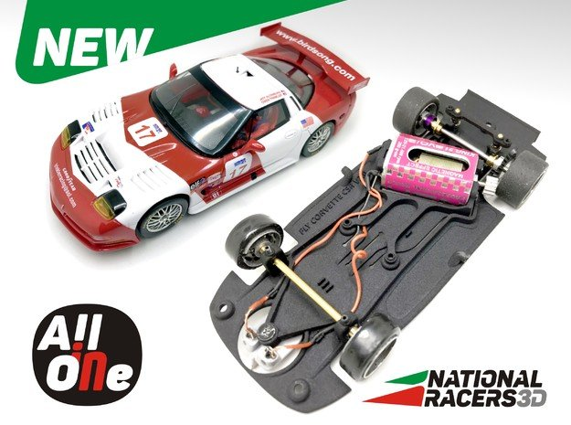 3D Chassis - Fly Corvette C5R (Anglewinder - AiO) in Black Natural Versatile Plastic