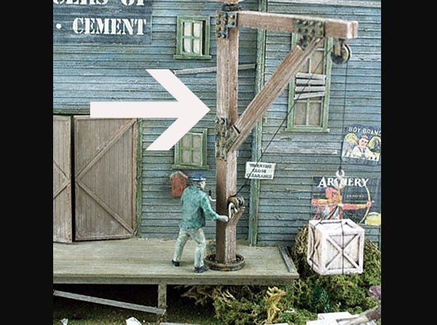 Wooden Jib Loading Crane O Scale Detail in Smooth Fine Detail Plastic