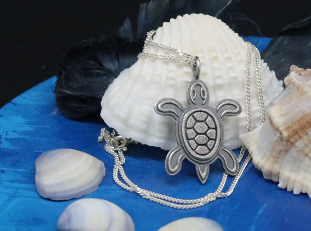 Tribal Turtle Pendant in Antique Silver