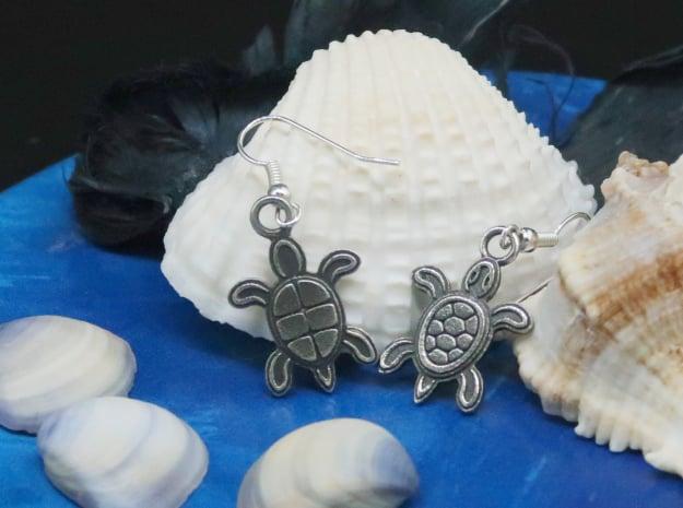 Tribal Turtle Earrings in Antique Silver