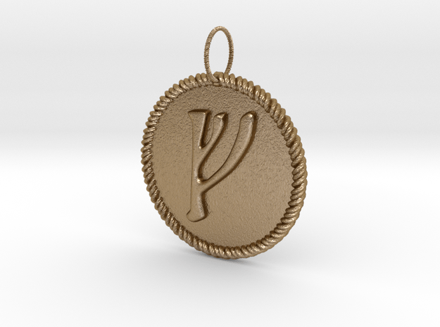 Nordic Fehu Rope Pendant in Polished Gold Steel