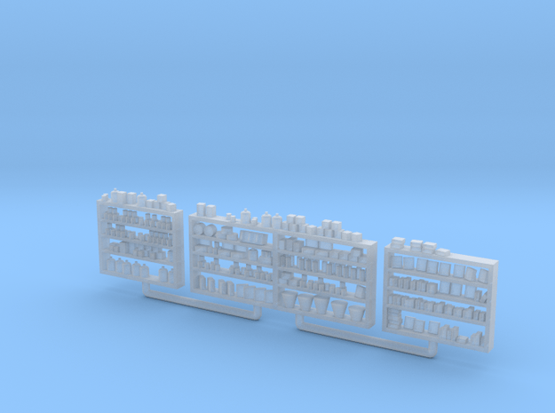 Detailed Shelving with Goods S Scale in Smooth Fine Detail Plastic