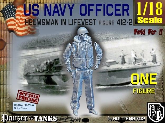 1/18 USN Officer Helmsman 412-2 in White Natural Versatile Plastic