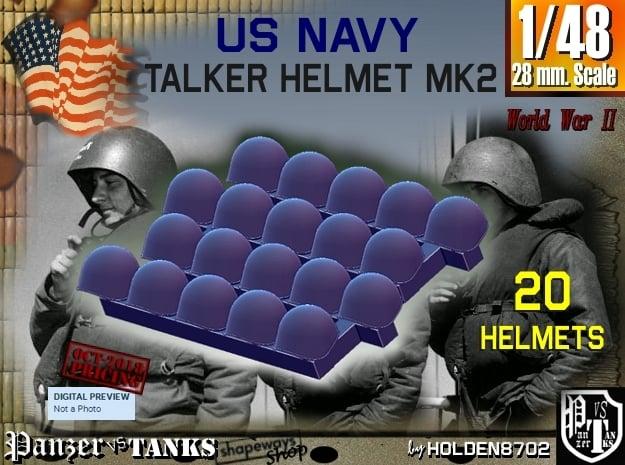 1/48 USN Mk2 Headphones Helmet Set001 in Smooth Fine Detail Plastic