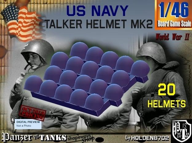 1/46 USN Mk2 Headphones Helmet Set001 in Smooth Fine Detail Plastic
