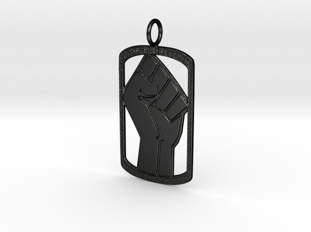 Power Dog Tag (Left Hand) in Matte Black Steel