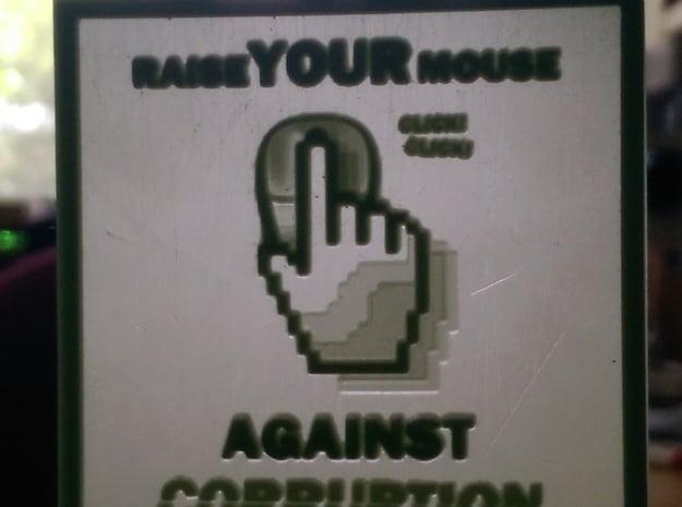 Raise Your Mouse hanging lithophane Meme in White Processed Versatile Plastic