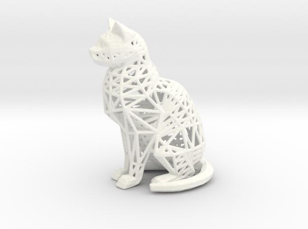 Wireframe Cat in White Processed Versatile Plastic