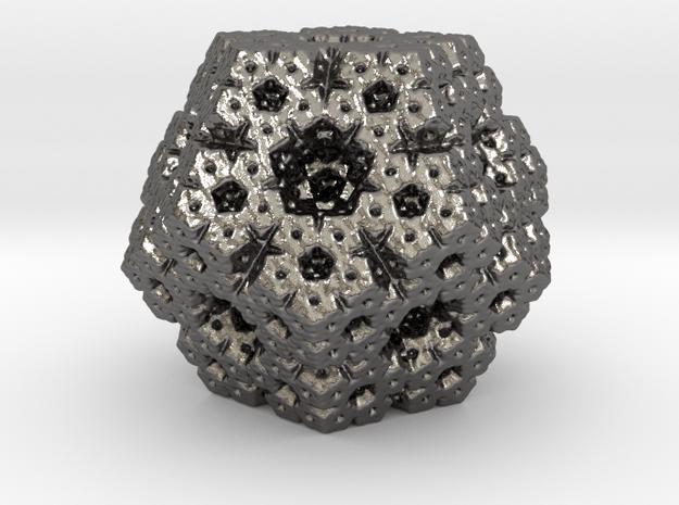 fractal dodecahedron in Polished Nickel Steel