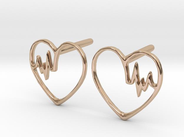 Heartbeat Earrings in 14k Rose Gold Plated Brass