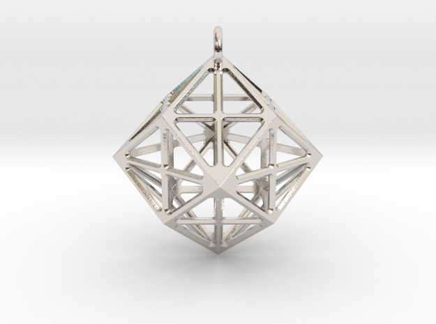Simple geometric  pendant in Rhodium Plated Brass