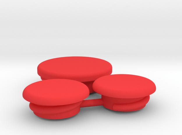 Thumbwheel Screw Caps Set (Part CP123) in Red Processed Versatile Plastic