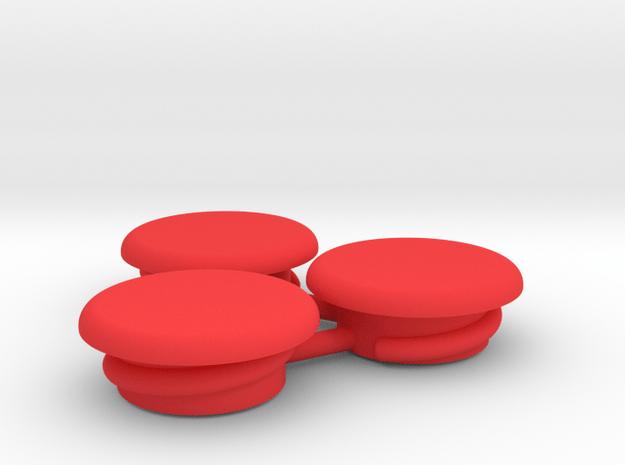 Thumbwheel Screw Caps Set (Part CP122) in Red Processed Versatile Plastic