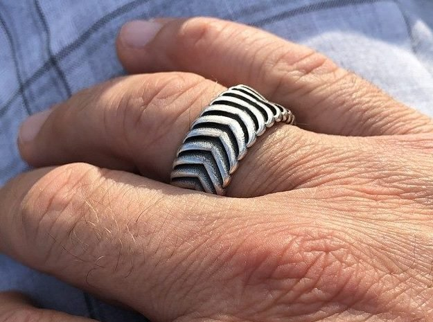 CARVER RING SIZE 11 in Antique Silver