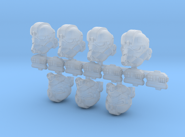Deluxe Flying Bucketheads (x7) in Smoothest Fine Detail Plastic