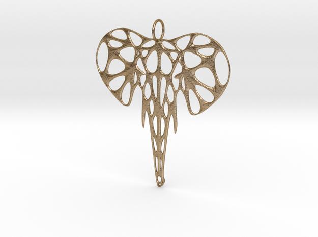 Elephant Voronoi Pendant in Polished Gold Steel