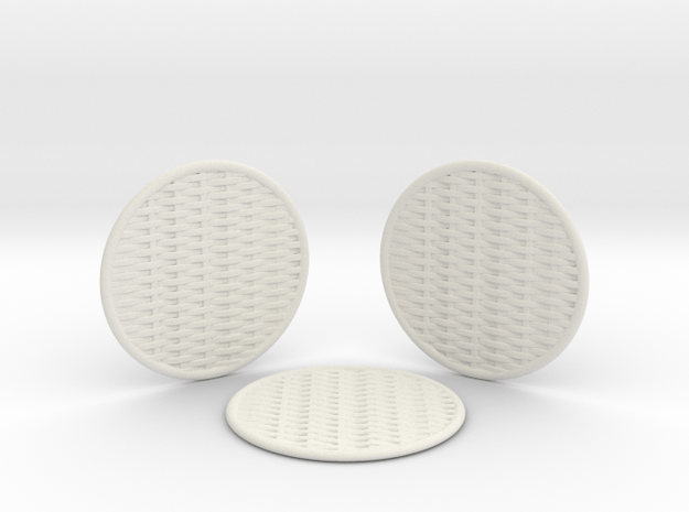 3 Braided Coasters  in White Natural Versatile Plastic