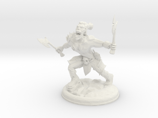 Orc with Axes on 28mm Base Low Poly version in White Natural Versatile Plastic