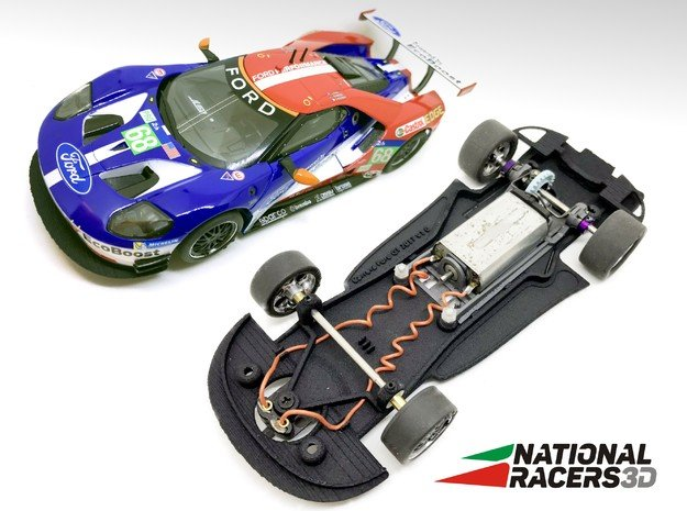 3D Chassis - Carrera Ford GT (Combo) in Black Natural Versatile Plastic