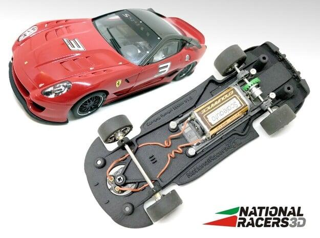 3D Chassis - Carrera Ferrari 599XX (Combo) in Black Natural Versatile Plastic