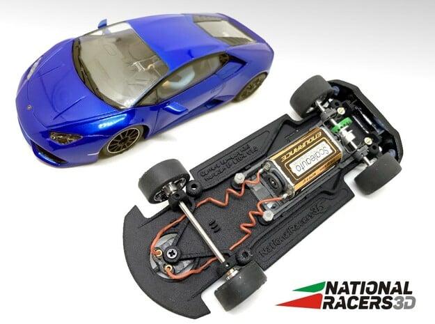 3D Chassis - Carrera Lamborghini Huracan (Combo) in Black Natural Versatile Plastic