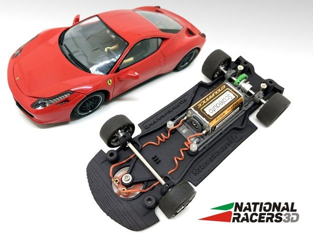 3D Chassis - Carrera Ferrari 458 Italia (Combo) in Black Natural Versatile Plastic