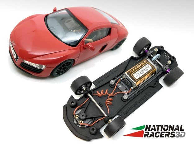 3D Chassis - Carrera Audi R8 (Combo) in Black Natural Versatile Plastic