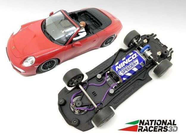 3D Chassis - Carrera Porsche 911 Carrera S Cabrio  in Black Natural Versatile Plastic