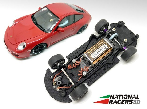 3D Chassis - Carrera Porsche 911 (Combo) in Black Natural Versatile Plastic