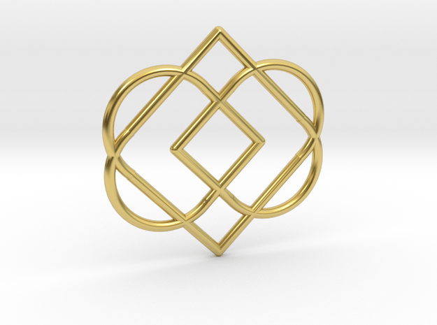 Duble Heart in Polished Brass